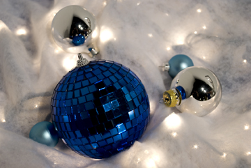 Blue Yule disco ball