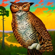 Billy Hassell, Horned Owl with Fiery Sky, 2013, oil on panel, 36x60 (web large)