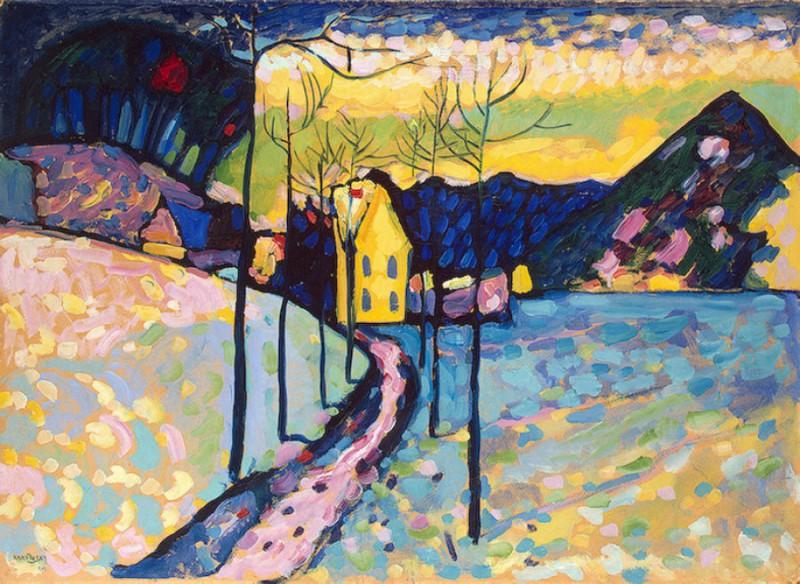 Wassily Kandinsky-Winter Landscape-1909- oil on cardboard- 75.5 x 97.5 cm-The State Hermitage Museum- St.Petersburg, Russia (Wikimedia)