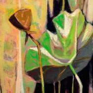DeForrest Judd: Lotus, Caddo Lake, 1954, Oil on board, 30 x 18 inches