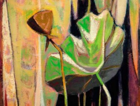 DeForrest Judd: Lotus, Caddo Lake, 1954, Oil on board, 30 x 18 inches