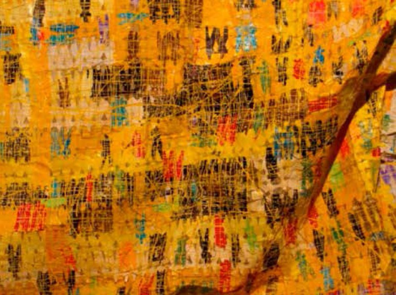 Olaniyi Rasheed, Akindiya: OGIRI L'ETI, 2013, Mixed media tapestry painting, 18 x 20 feet